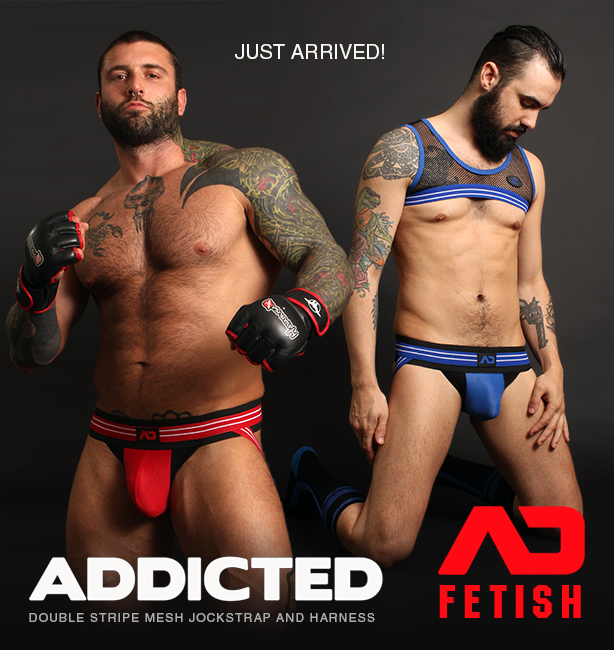 Addicted Fetish Double Stripe Jockstrap and Stripe Mesh Harness