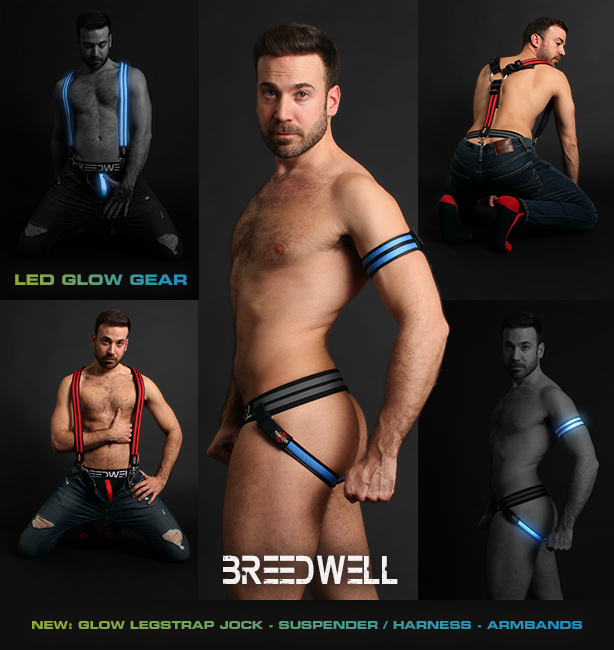 Breedwell - Glow Legstrap Jock, Glow Suspender / Harness and Glow Armbands