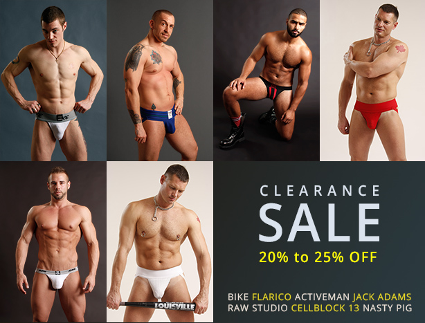 Jockstrap Clearance Sale - 20% to 25% off Bike, Flarico, Activeman, Cellblock 13, Raw Studio and more.