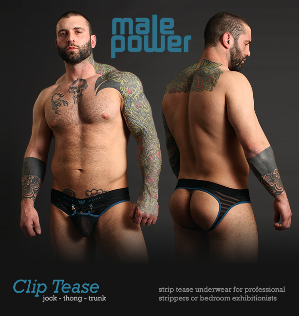 Male Power Clip Tease Jockstrap, Thong, Trunk