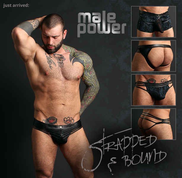 Male Power Strapped and Bound Strappy Jock, Thong and Short