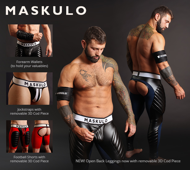 Maskulo Jockstraps, Open Back Football Shorts and Open Back Leggings with Cod Piece
