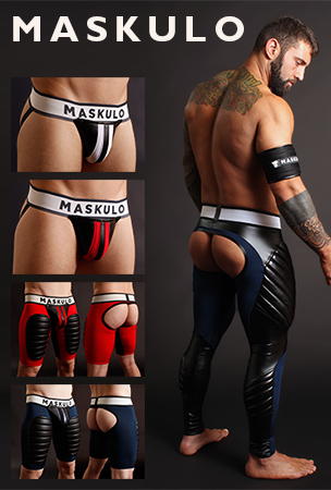 Maskulo Fetish Wear - Jockstraps and Open Back Shorts and Leggings with removable Cod Piece