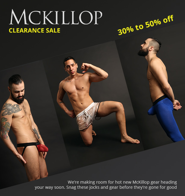 McKillop Clearance Sale - 30% to 50% off jocks, shorts and gear