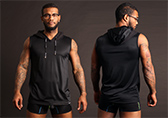 PUMP! Beach Hood Tank Black