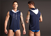 PUMP! Beach Hood Tank Navy