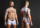 4 Hunks Catcher Lad Mesh Wrestling Singlet with Open Back Detail 1