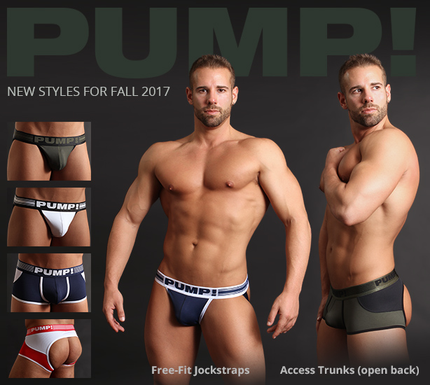 PUMP! Free-fit Jockstraps and Access Trunks (open back)