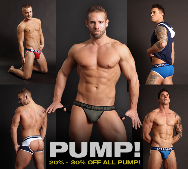 PUMP! Sale - 20% to 30% off all jocks, underwear, tanks and socks